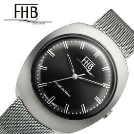 FHB 腕時計 エフエイチビー 時計 ノアシリーズ F930 NOAH SERIES メンズ レディース ブラック F930BK-MT クラシカル レトロ ヴィンテージ ビンテージ シンプル デザイン 人気 おすすめ おしゃれ ブランド 丸型 ラウンド メタル ベルト バンド プレゼント ギフト