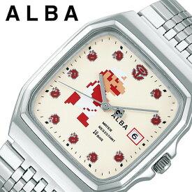 セイコー スーパーマリオ 限定コラボモデル アルバ 時計 SEIKO ALBA Super Mario 腕時計 メンズ レディース ホワイト ACCK421 人気 ブランド キャラクター ドット ファミコン ゲームボーイ ドット絵 レトロゲーム 死にゲー レア プレゼント ギフト