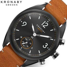 クロナビー スマートウォッチ 時計 KRONABY コネクトウォッチ 腕時計 エイペックス APEX メンズ ブラック A1000-3116 防水 北欧 健康 レザー 革 ベルト シンプル デザイン 人気 おすすめ おしゃれ 仕事 スーツ ビジネス プレゼント ギフト