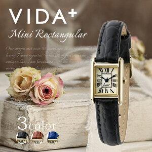 ヴィーダプラス腕時計VIDA+時計VIDA+腕時計ヴィーダプラス時計ミニレクタンギュラーMiniRectangularレディース/アイボリーVD-83904-LE-BK[正規品/新作/防水/人気/革/レザーベルト/レクタンギュラー型/スクエア型/ゴールド/ブラック]