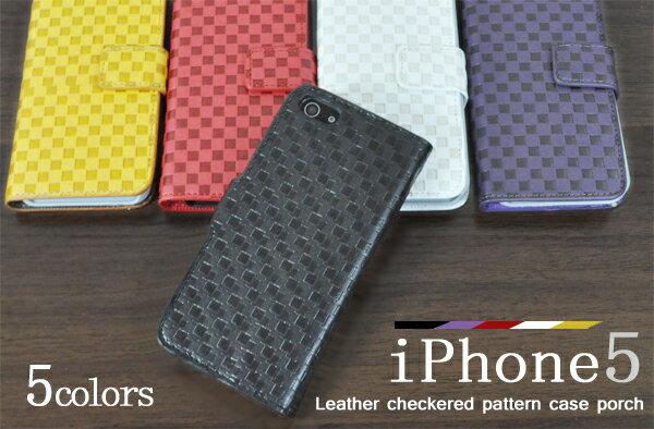 手帳型ケース iPhone5 iphoneSE iphone5 市松模様レザー調ケースポーチ アイフォン5 アイホン5 白 黒 カバー 手帳型スマホケース 横開き 二つ折り ダイアリーケース カードホルダー フリップケース