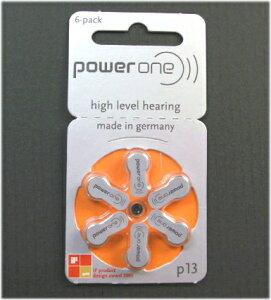 6個セットで¥350 補聴器用空気電池 PR48 P13 ドイツPowerOne製 補聴器用電池 パワーワン ボタン電池 補聴器 電池
