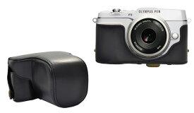 OLYMPUS オリンパス ミラーレス一眼 PEN E-P5 レンズキット対応 カメラケース&ストラップセット ブラック