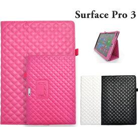 Surface Pro 3 キルティングレザースタンドケースポーチ 手帳型 サーフェスプロ3 SurfacePro3ブラック ホワイト ビビッドピンク 白 黒 マイクロソフト Microsoft タブレット カバー PUレザー