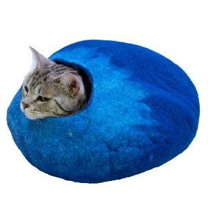 送料無料 猫用 ウールフェルトポッド シーブルー キャットハウス ドームベッド キャティーマン ドーム ドギーマン キャットベッド 猫用品 ベッド 猫 ベッド 冬 マカロン ハウス クッション