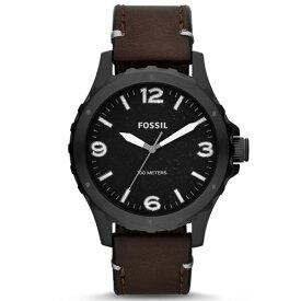 FOSSIL フォッシル Nate ネイト JR1450 黒文字盤 10気圧防水 ブラウンレザーバンド メンズ腕時計