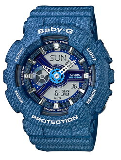 寶貝寶貝-g G 牛仔布牛仔將彩色限量版模型凱西歐凱西歐類比數位手錶藍壩-110DC-2 A2JF