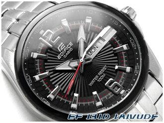 카시오 해외 모델에 디피 스 아날로그 남자 시계 IP ブラックベゼル 블랙 다이얼 실버 스테인리스 벨트 EF-131D-1A1VUDF