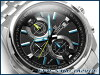 凱西歐國際模型大廈類比計時男士手錶黑色 × 藍色錶盤銀色不銹鋼鋼帶 EFR-536 D-1 A2VDF