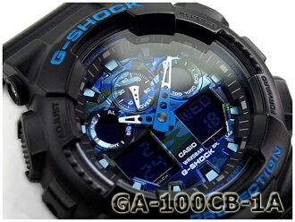 """G-休克 G 休克""""凱西歐凱西歐類比數位手錶黑藍色遺傳演算法-100CB-1AER GA-100CB-1A 型"""