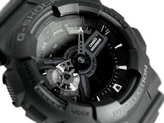 凱西歐 G 衝擊類比-數位手錶黑色聚氨酯皮帶 GA-110-1B