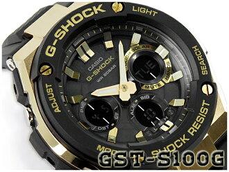 凱西歐 G 衝擊 G 鋼 G 鋼凱西歐 g-休克太陽能類比數位男式手錶黑色黃金 GST-S100G-1ACR GST-S100G-1A