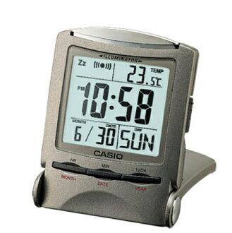 CASIO 카시오 시계 CLOCK 탁상 시계 알람시계 온도계 기준 폴딩 콤팩트 여행 시계 실버 PQ-50J-8