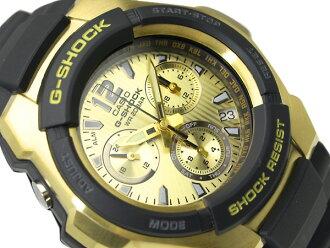 카시오 G 쇼크 해외 모델 아날로그 크로 노 그래프 시계 골드 다이얼 블랙 우 레 탄 벨트 G-1000H-9A