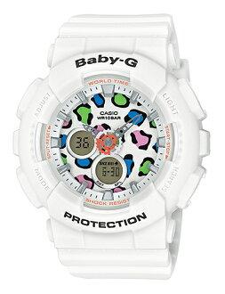 CASIO BABY-G 카시오 베이비 G 레오퍼드 시리즈 여성 아날로그-디지털 시계 화이트 멀티 컬러 BA-120LP-7A1JF