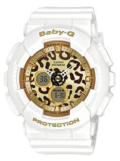 凱西歐寶貝 g 凱西歐寶貝 G 系列豹女士類比數位手錶白色豹子圖案壩-120LP-7 A2JF
