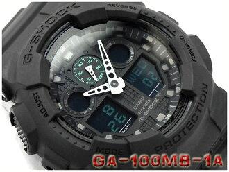 CASIO G-SHOCK 카시오 G 쇼크 Military black series 밀리터리 블랙 시리즈 아날로그-디지털 시계 블랙 그린 GA-100MB-1ADR GA-100MB-1A