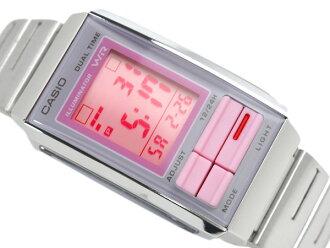卡西歐海外モデルフューチャリストレディースデジタル手表灰色×粉紅色搭擋彩色粉紅色撥盤LA-201W-4A2