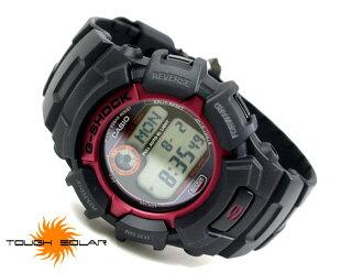 + 凱西歐海外型號 G 休克太陽能數位手錶 レッドメタルベゼル 聚氨酯皮帶 g-2300F-4