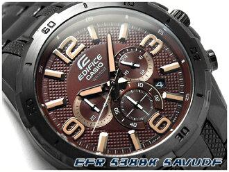 카시오 해외 모델에 디피 스 아날로그 남자 시계 크로 노 브라운 다이얼 IP 블랙 스테인레스 벨트 EFR-538BK-5AVUDF