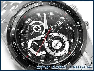 [要點 2 倍 !+ 所有產品 !凱西歐海外模型大廈類比男裝看計時黑色錶盤銀色不銹鋼帶 EFR 539 D 1AVUDF
