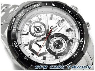 凱西歐國際模型大廈類比男裝看計時碼表白色錶盤銀色不銹鋼帶 EFR-539 D-7AVUDF