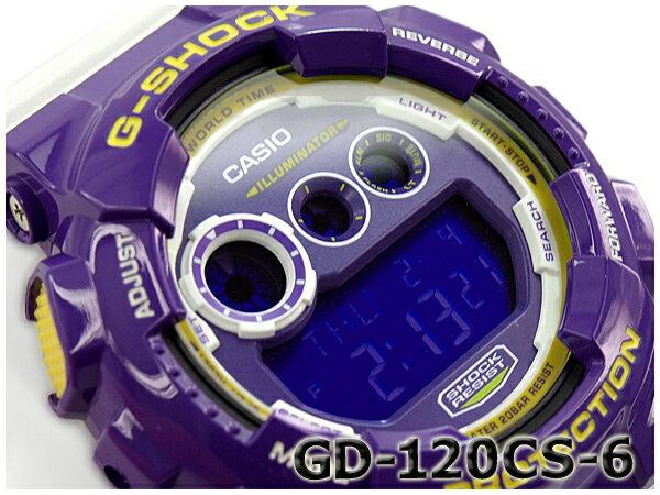 G-SHOCK Gショック ジーショック カシオ CASIO Crazy Colors クレイジーカラーズ デジタル 腕時計 パープル ホワイト GD-120CS-6CR GD-120CS-6