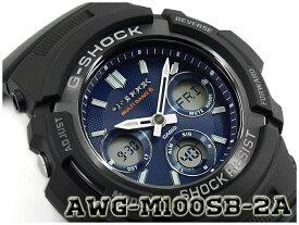 G-SHOCK Gショック 逆輸入海外モデル CASIO カシオ アナデジ 電波 ソーラー 腕時計 ネイビー ブラック AWG-M100SB-2A