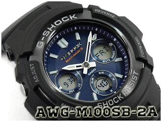 G-SHOCK G 쇼크 역 수입 해외 모델 CASIO 카시오 아날로그-디지털 전파 솔 러 손목시계 네이 비 블랙 AWG-M100SB-2AER AWG-M100SB-2A