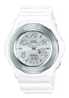 凱西歐凱西歐寶貝 g 凱西歐寶貝 G BGA-100 系列的心形晶體視窗女式類比數位手錶白色 BGA-100-7B3JF BGA-100-7B3