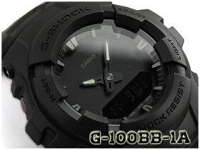 G-SHOCKGショックジーショック逆輸入海外モデルCASIOアナデジ腕時計マットオールブラックG-100BB-1ADRG-100BB-1A