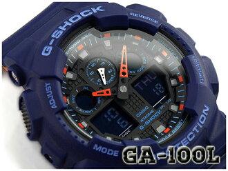 "G-休克 G 休克""重新導入外籍模特凱西歐凱西歐類比數位看藍色橙色 GA-100 L-2ACR 的 GA-100 L-2A"