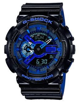 카시오 CASIO G-SHOCK 카시오 G 쇼크 Punching Pattern Series パンチングパターン 시리즈-디지털 남자 시계 블랙 블루 GA-110LPA-1AJF GA-110LPA-1A