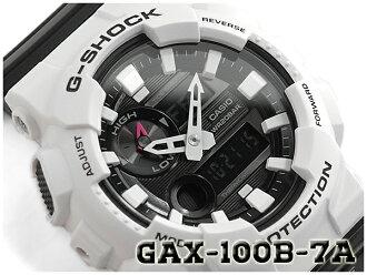 """G-休克 G 休克""""G 立德 G 騎反向海外模型 2016年模型凱西歐凱西歐類比數位手錶黑色 / 白色 GAX 100B 7ACR GAX-100B-7A"""