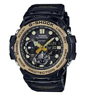 凱西歐凱西歐 g 震撼凱西歐 G 衝擊大師的 G G s 老式黑 & 金大師老式黑 & 黃金類比數位手錶黑色黃金 GN 1000 GB 1AJF GN-1000 GB-1A