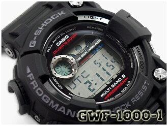 G-SHOCK G打擊G打擊主人of G蛙人FROGMAN返銷進口海外型號卡西歐CASIO太陽能電波鐘表人手錶黑色GWF-1000-1CR GWF-1000-1