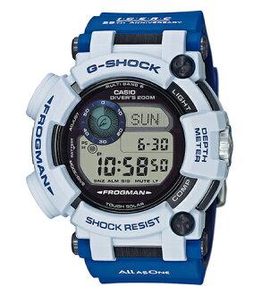 供CASIO G-SHOCK卡西歐G打擊FROGMAN蛙人海豚鯨基簽1500條限定型號ISO規格200m潛水使用的防水多頻段6太陽能電波數碼手錶白藍色GWF-D1000K-7JR GWF-D1000K-7