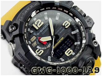 G打擊G-SHOCK卡西歐CASIO MUDMASTER maddomasuta電波太陽能電波鐘表anadejimenzu手錶黑色黄色GWG-1000-1A9DR GWG-1000-1A9