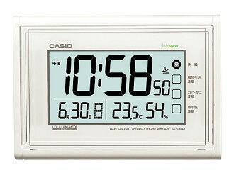CASIO 카시오 CLOCK 시계 벽 시계 전파 온도 습도 펄 화이트 IDL-150NJ-7JF 국내 정품