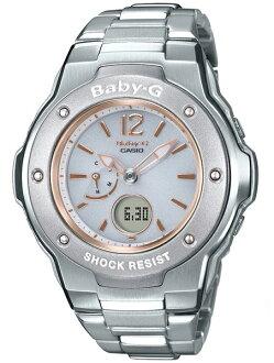 凱西歐寶貝 g 凱西歐寶貝 G 頻帶 6 艱難太陽能金屬無線電太陽能類比數位女式手錶白色 x 銀味精-3300 D-7BJF 味精-3300 D-7B
