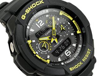 CASIO G-SHOCK卡西歐G打擊G打擊天機艙電波ソーラーパイロットクロノグラフアナデジ手表黑色黄色GW-3500B-1AER