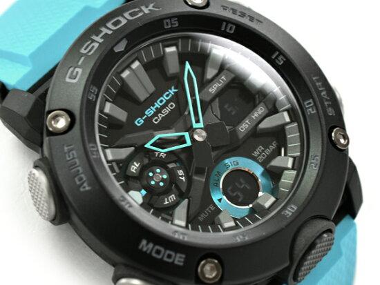 G-SHOCK G打擊G打擊返銷進口海外樣品波恩核心保護卡西歐CASIO anadeji手錶黑色天藍色GA-2000-1A2ER GA-2000-1A2 G-SUPPLY