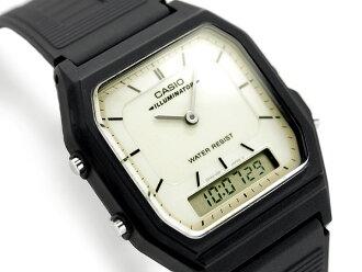 類比數位中性手錶白色錶盤聚氨酯皮帶 AQ-51MV-7