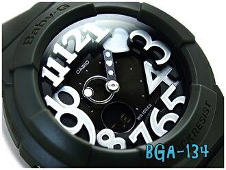카시오 베이비 G 네온 전화 시리즈 아날로그-디지털 시계, 카 키 블랙 화이트 BGA-134-3BDR