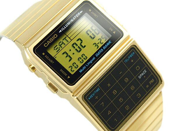 CASIO DATABANK カシオ データバンク 電卓機能 デジタル腕時計 逆輸入海外モデル ゴールド ブラック DBC-611G-1