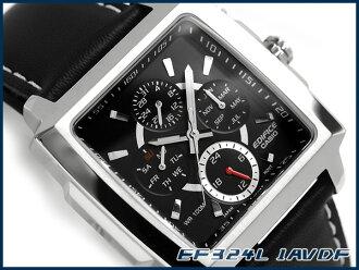 凱西歐日本尚未海外發佈模型大廈類比多功能男裝看廣場案例黑色錶盤皮帶 EF-324 L-1AVDF