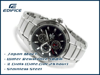 Casio overseas model edifice analog Multifunction mens watch stripe Black / Silver EF-335D-1AVDF