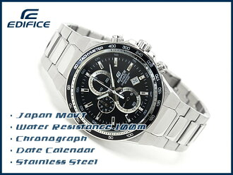 + Casio overseas model edifice chronograph mens watch black dial silver stainless steel belt EF-546D-1 A1VDF