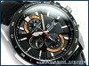 凱西歐日本尚待釋放海外模型大廈類比計時男士手錶黑色 / 玫瑰金黑色皮革皮帶 EFR-520 L-1AVDF