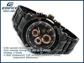 凱西歐大廈凱西歐大廈黃金標籤系列類比計時男士手錶黑色玫瑰金 EFX-500BK-1